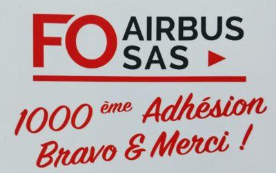 FO Airbus SAS passe le cap des 1000 adhérents !