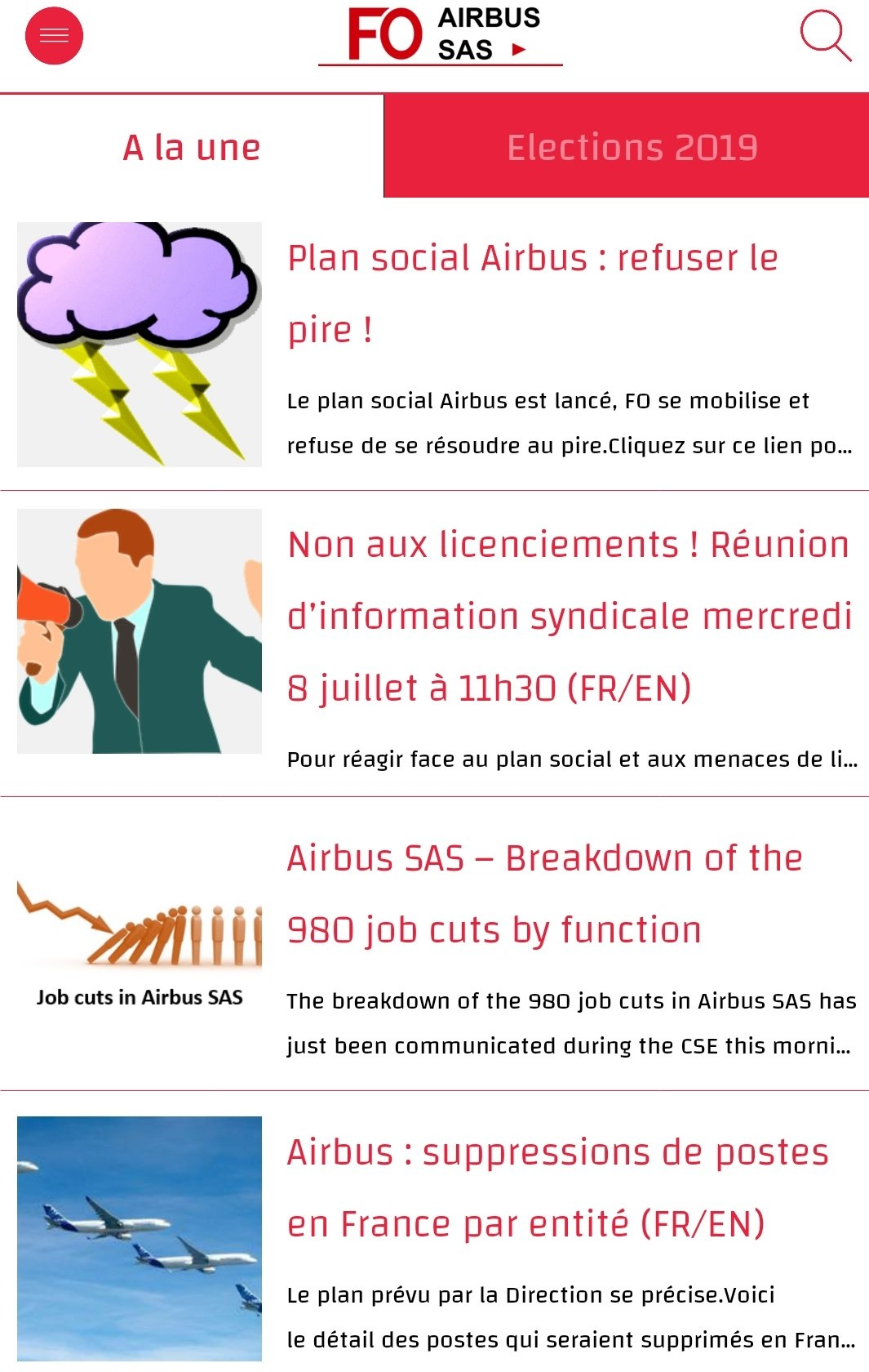 "Restez informés avec l'appli ""FO Airbus SAS"" (FR/EN) !"